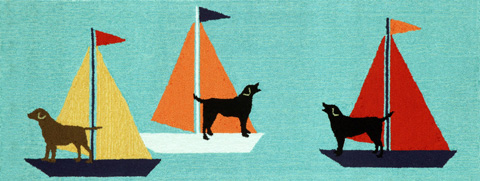Trans-Ocean Import Co., Inc. - Frontporch Sailing Dogs Blue 2x8 Rug - FTPR6140203