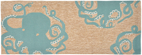 Trans-Ocean Import Co., Inc. - Frontporch Octopus Aqua 2x8 Rug - FTPR6143204