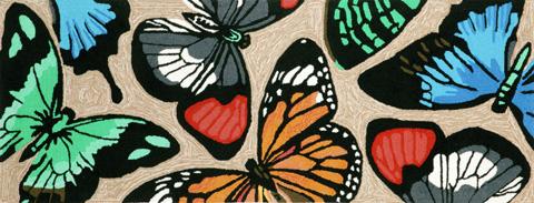Trans-Ocean Import Co., Inc. - Frontporch Butterfly Dance Multi 2x8 Rug - FTPR6143944