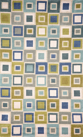 Trans-Ocean Import Co., Inc. - Spello Big Squares Ocean 5x8 Rug - SLO57205504