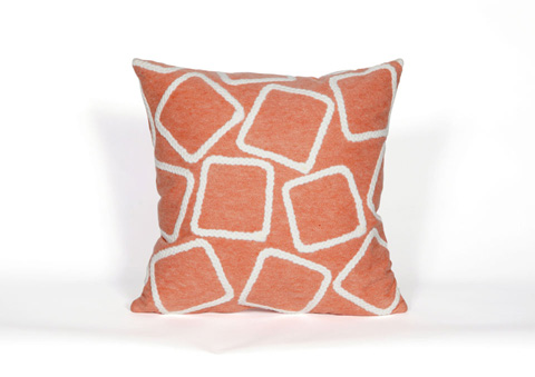 Trans-Ocean Import Co., Inc. - Visions I Squares Coral Throw Pillow - 7SA2S408717