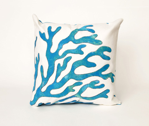 Trans-Ocean Import Co., Inc. - Visions II Coral Blue Throw Pillow - 7SB2S413903