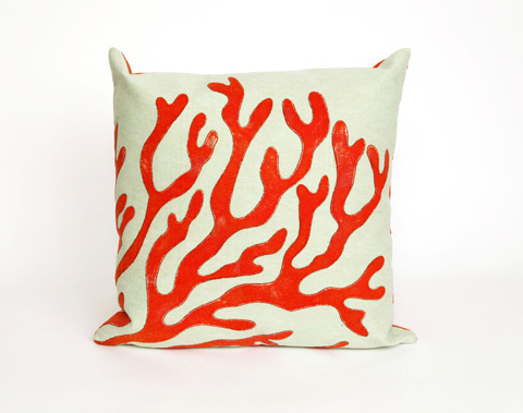 Trans-Ocean Import Co., Inc. - Visions II Coral Red Throw Pillow - 7SB2S413924