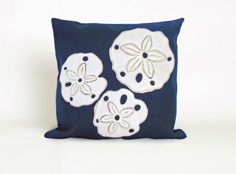 Trans-Ocean Import Co., Inc. - Visions II Sand Dollar Navy Throw Pillow - 7SB2S414033