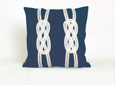 Trans-Ocean Import Co., Inc. - Visions II Double Knot Navy Throw Pillow - 7SB2S414233