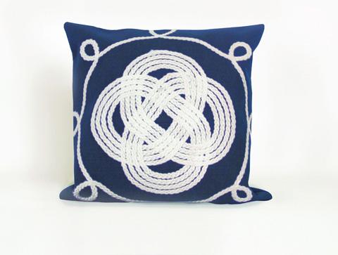 Trans-Ocean Import Co., Inc. - Visions II Ornamental Knot Navy Throw Pillow - 7SB2S414333