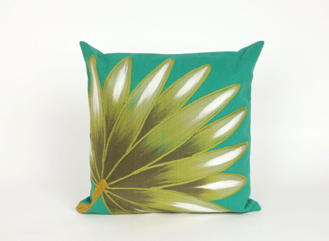 Trans-Ocean Import Co., Inc. - Visions II Palm Fan Teal Throw Pillow - 7SB2S416804