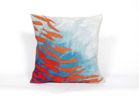 Trans-Ocean Import Co., Inc. - Visions II School Of Fish Aqua Throw Pillow - 7SB2S417104