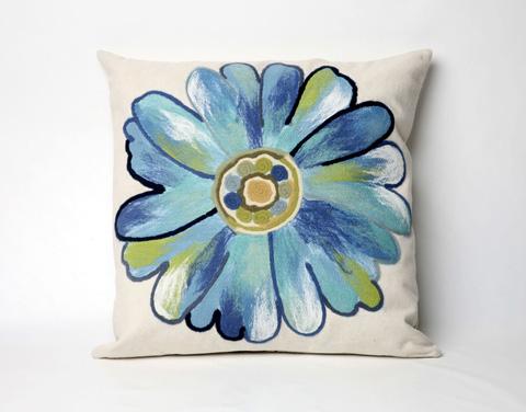 Trans-Ocean Import Co., Inc. - Visions III Daisy Aqua Throw Pillow - 7SC2S314904