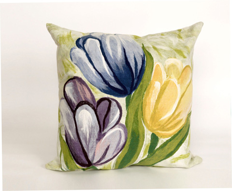 Trans-Ocean Import Co., Inc. - Visions III Tulips Cool Throw Pillow - 7SC2S320806
