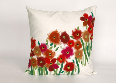 Trans-Ocean Import Co., Inc. - Visions III Poppies Red Throw Pillow - 7SC2S320924