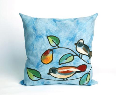 Trans-Ocean Import Co., Inc. - Visions III Song Birds Blue Throw Pillow - 7SC2S411903