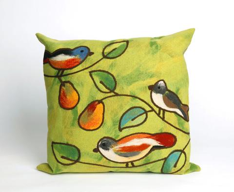 Trans-Ocean Import Co., Inc. - Visions III Song Birds Green Throw Pillow - 7SC2S411906