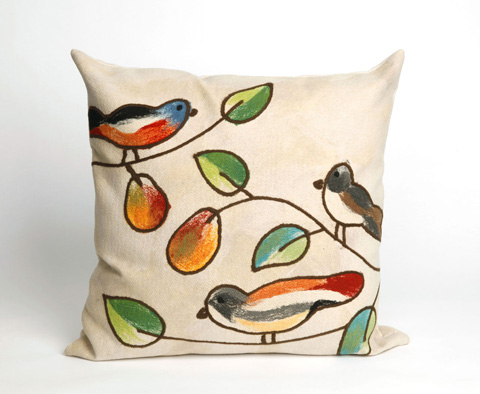 Trans-Ocean Import Co., Inc. - Visions III Song Birds Cream Throw Pillow - 7SC2S411912