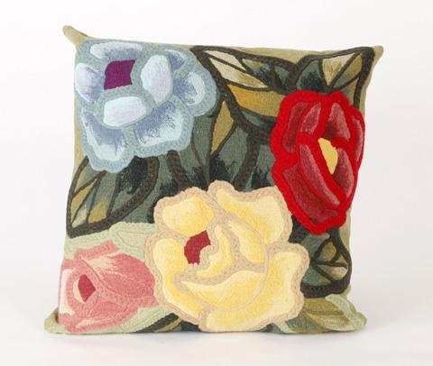 Trans-Ocean Import Co., Inc. - Visions III Crochet Flower Green Throw Pillow - 7SC2S413006