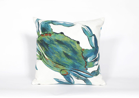 Trans-Ocean Import Co., Inc. - Visions III Blue Crab Sea Throw Pillow - 7SC2S419103