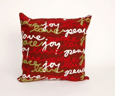 Trans-Ocean Import Co., Inc. - Visions III Peace Love Joy Red Throw Pillow - 7SC2S420024