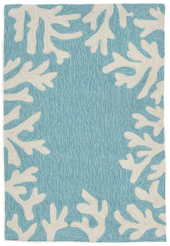 Trans-Ocean Import Co., Inc. - Capri Coral Border Aqua Rug - CAP23162004