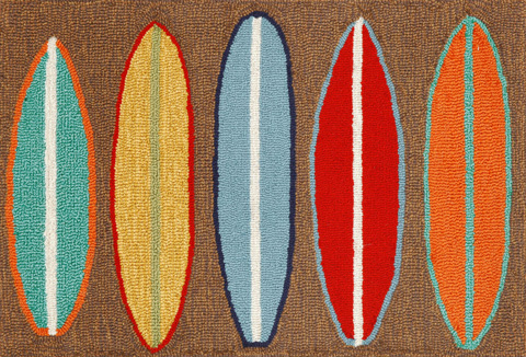 Trans-Ocean Import Co., Inc. - Frontporch Surfboards Brown Rug - FTP23140619