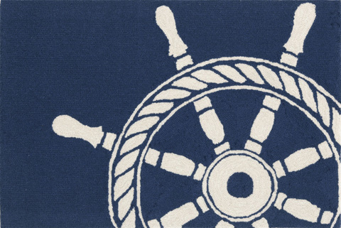 Trans-Ocean Import Co., Inc. - Frontporch Ship Wheel Navy Rug - FTP23145633