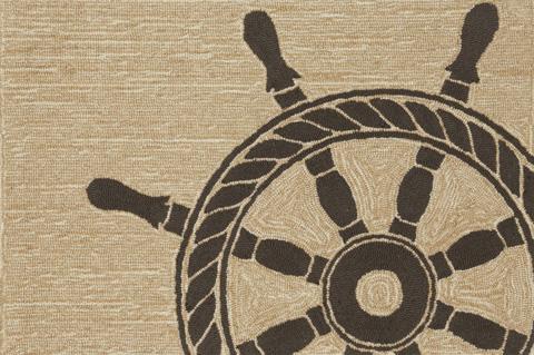 Trans-Ocean Import Co., Inc. - Frontporch Ship Wheel Black Rug - FTP23145648