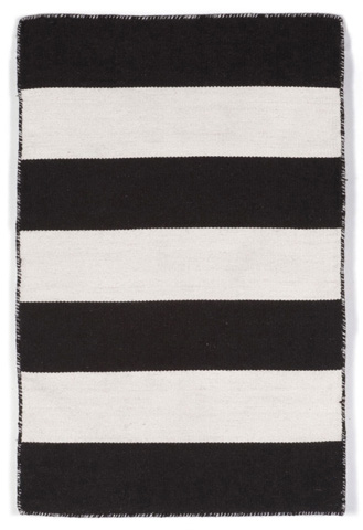 Image of Sorrento Rugby Stripe Black Rug