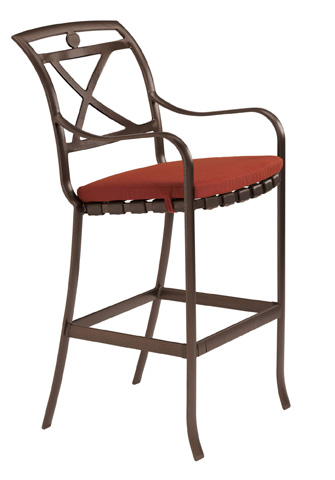 Tropitone Furniture Co., Inc. - Palladian Strap Barstool with Seat Pad - 10992605