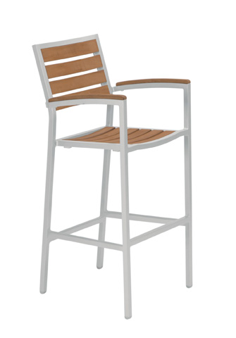 Tropitone Furniture Co., Inc. - Jado Faux Wood Slat Barstool with Arms - 2J1326ARM