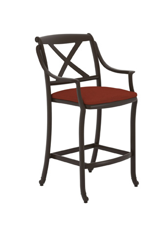 Tropitone Furniture Co., Inc. - BelMar X-Back Stationary Barstool with Seat Pad - 31142605