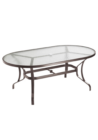 Tropitone Furniture Co., Inc. - Obscure Glass Oval Dining Umbrella Table - 500072GU