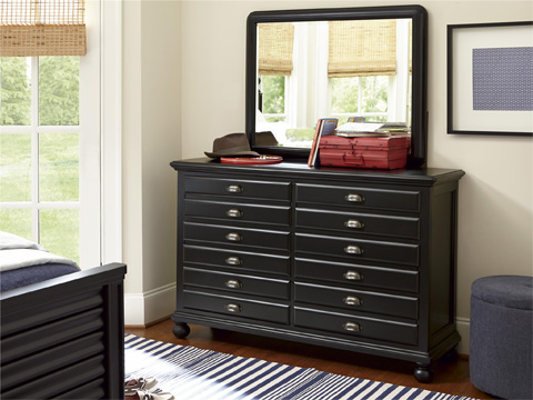 Universal - Smart Stuff - Black and White Map Drawer Dresser - 437B003