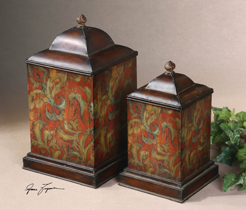 Uttermost Company - Colorful Flowers Metal Canisters - 19166