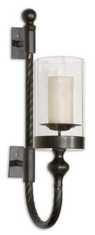 Uttermost Company - Garvin Twist Metal Sconce with Candle - 19476
