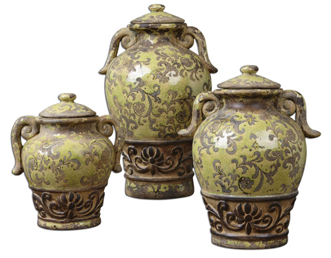 Uttermost Company - Gian Crackled Green Containers - 19716