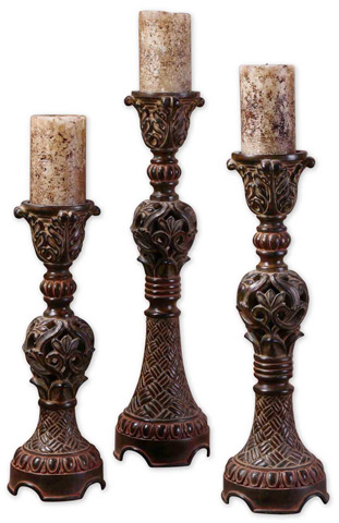Uttermost Company - Rosina Walnut Brown Candlesticks - 20312