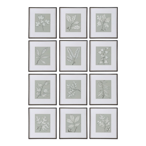 Uttermost Company - Leaves On Taupe Art-Set of Twelve - 33623