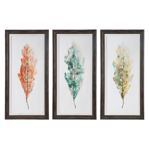 Uttermost Company - Tricolor Leaves Art-Set of Three - 33634