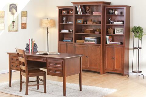 Whittier Wood Furniture - McKenzie Alder Bookcase with Doors - 1525AEGAC