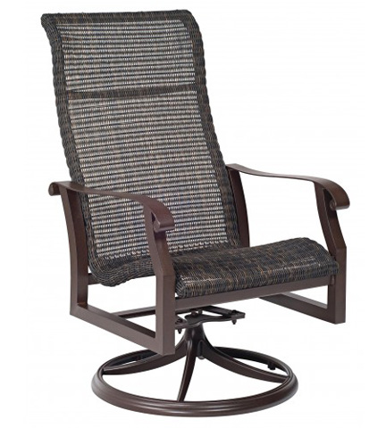 Woodard Company - Cortland Round Weave High-Back Swivel Rocker - 5V0488