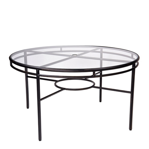 Woodard Company - Nob Hill Umbrella Dining Table with Glass Top - 3U54BT
