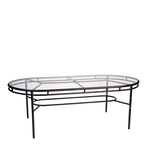 Woodard Company - Nob Hill Oval Umbrella Dining Table with Glass Top - 3U84BT