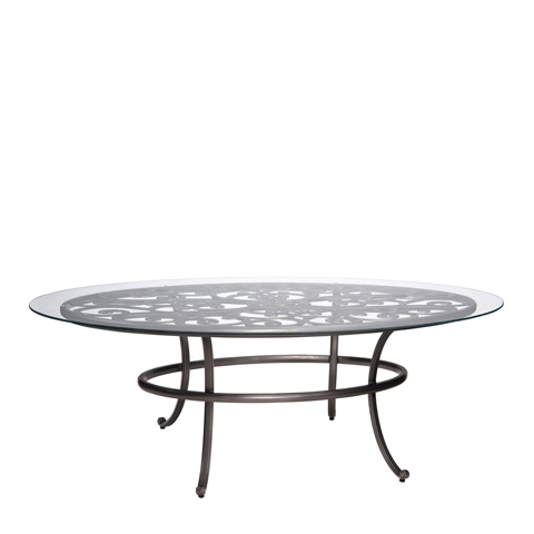 Woodard Company - New Orleans Oval Umbrella Table with Glass Top - 3W0684