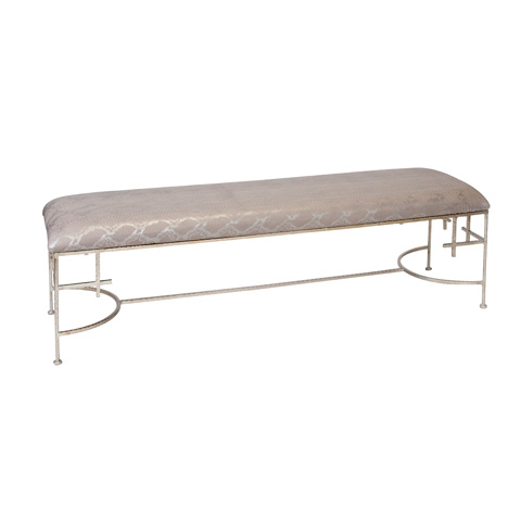 Worlds Away - Hammered Champagne Silver Leaf Bench - AUGUSTA SN