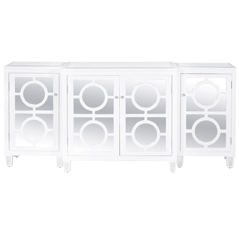 Worlds Away - Three Piece White Lacquer Buffet - AVA WH
