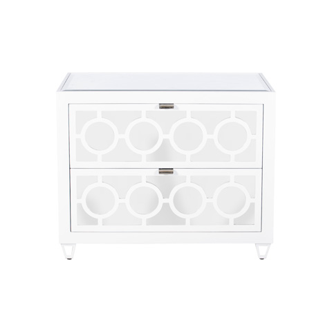 Worlds Away - White Lacquer Two Drawer Nightstand - BARKLEY WH