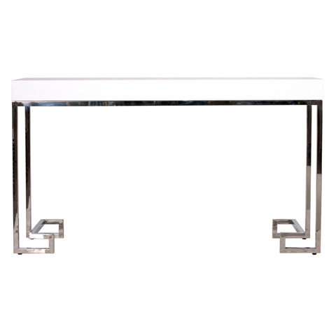 Worlds Away - White Lacquer Console with Greek Key Base - BARSANTI WHSS