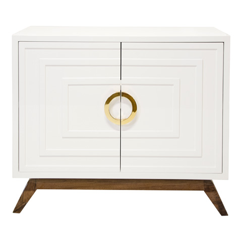 Worlds Away - White Lacquer Two Door Cabinet - BERNARD WH