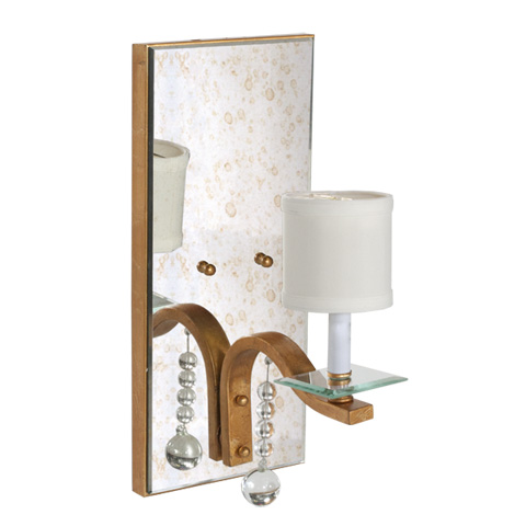 Worlds Away - Antique Mirror Sconce with Gold Leaf - BETTE G