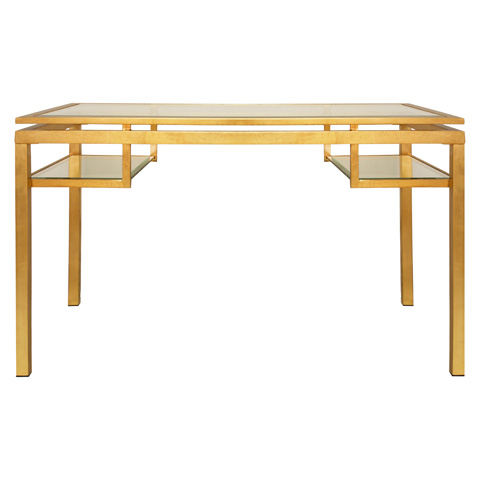 Worlds Away - Gold Leaf and Beveled Glass Desk - BRENTWOOD G