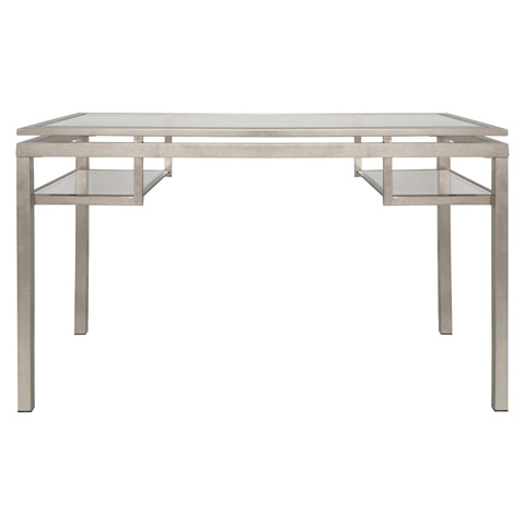 Worlds Away - Champagne Silver Leaf and Bevled Glass Desk - BRENTWOOD S